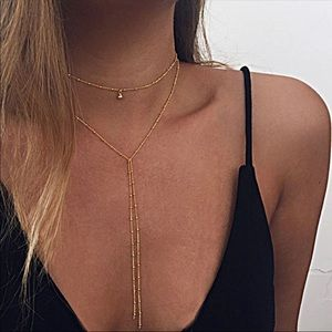 🆕 Gold or Silver Choker Lariat Necklace